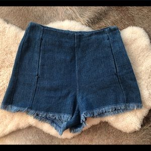 Zara Highwaist Frayed Jean shorts Sz M